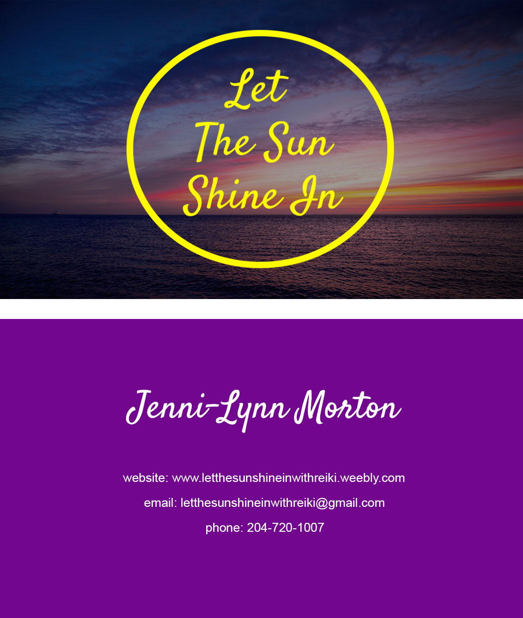 Client Work - Let the Sun Shine in Business Cards